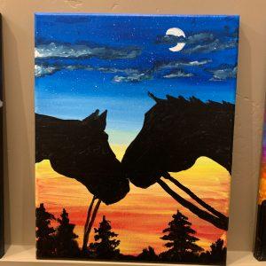 Horses at Sunset-2